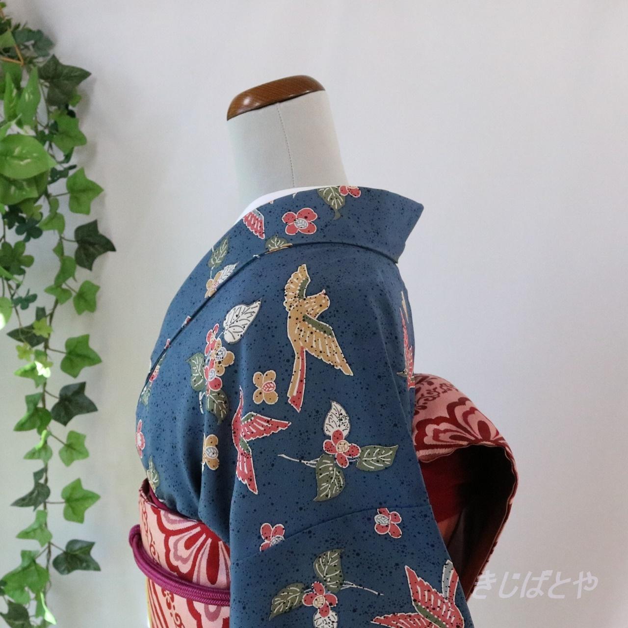 正絹 韓藍(からあい)に花鳥の小紋 袷