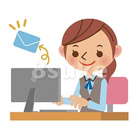 イラスト素材:パソコンでメールを送るOL・事務職の女性(ベクター・JPG)