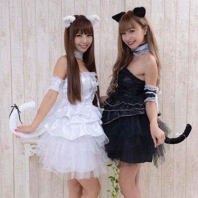 【白猫・黒猫】ファー耳がカワイイコスプレ★ミニワンピ
