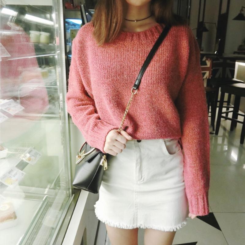 ソリッドカラーショートルーズセーター