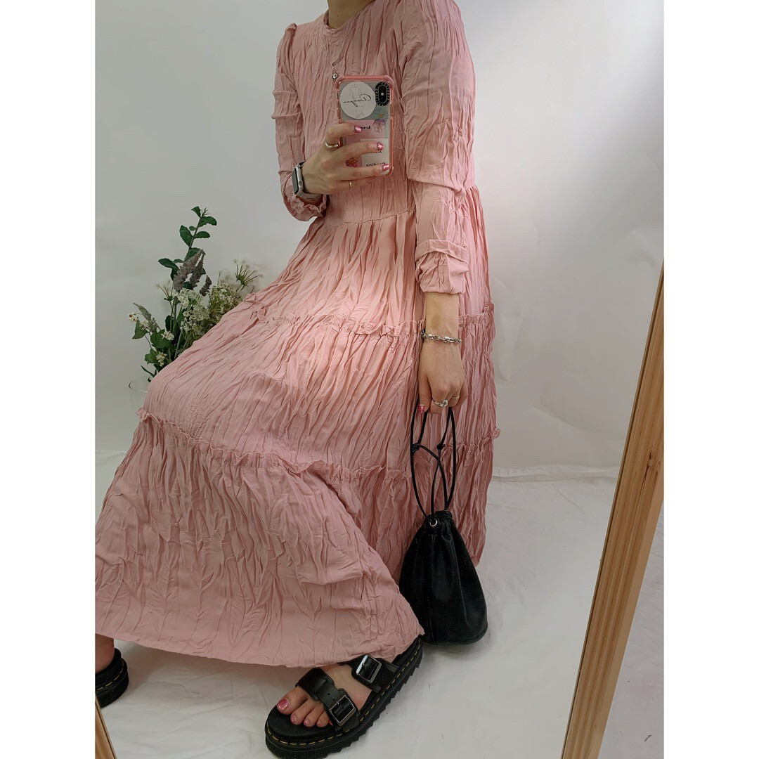 【asyu】crinkle tiered one-piece
