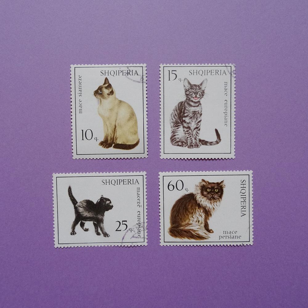 チェコ 猫の切手セット