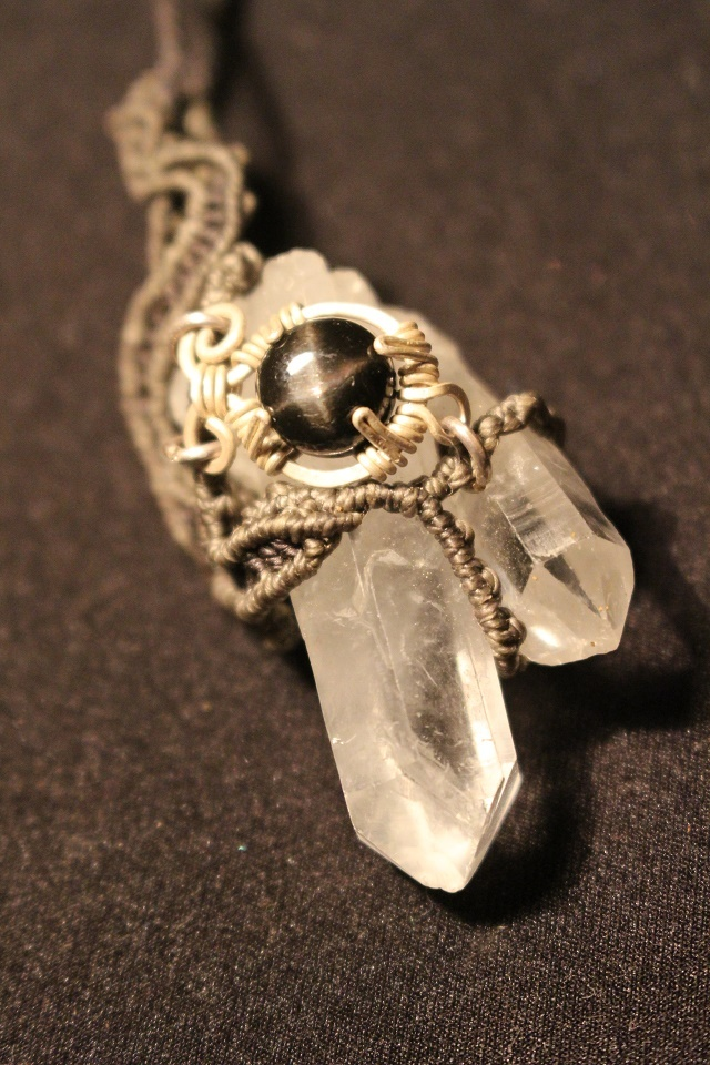 Crystal & Blackstar silver pendant