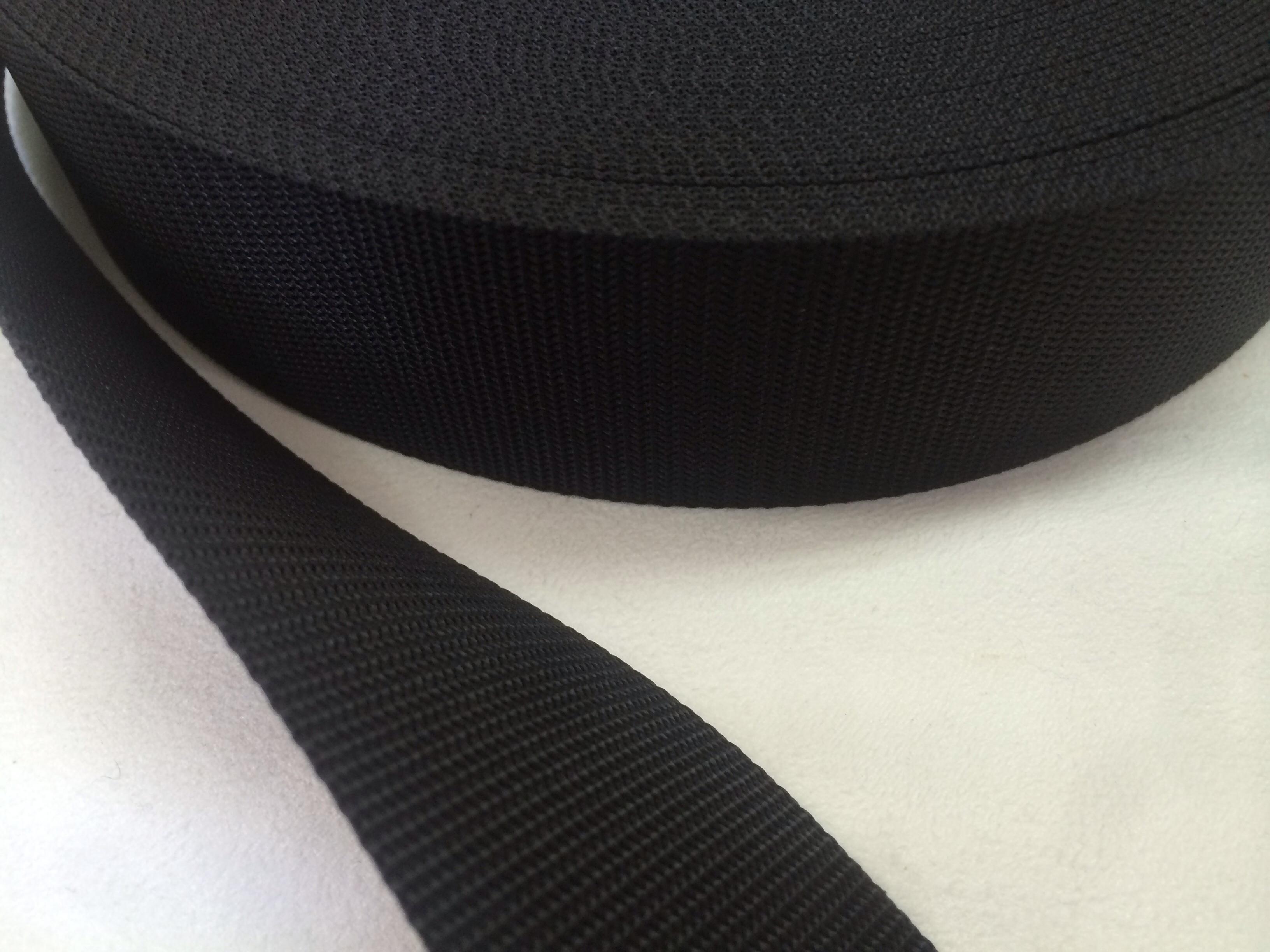 ナイロン 4本トジ織 38㎜幅 黒 5m単位
