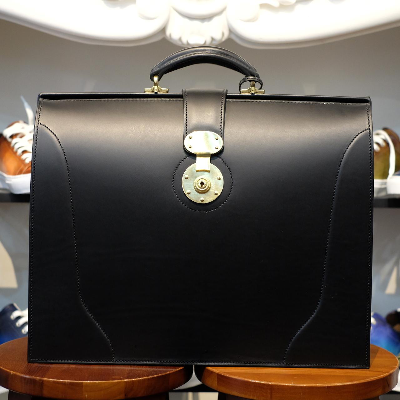 ル・ボナー 太マチダレスバッグ(3マチダレス)クラシック真鍮無垢錠前 ブラック