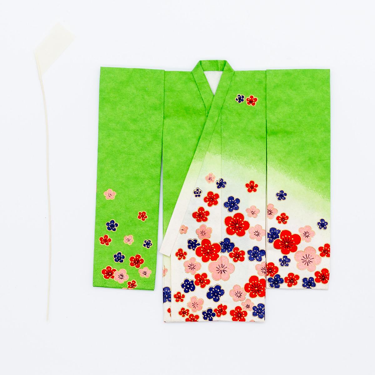京の七夕さん(紙衣)お仕立上がり 女物柄 緑色