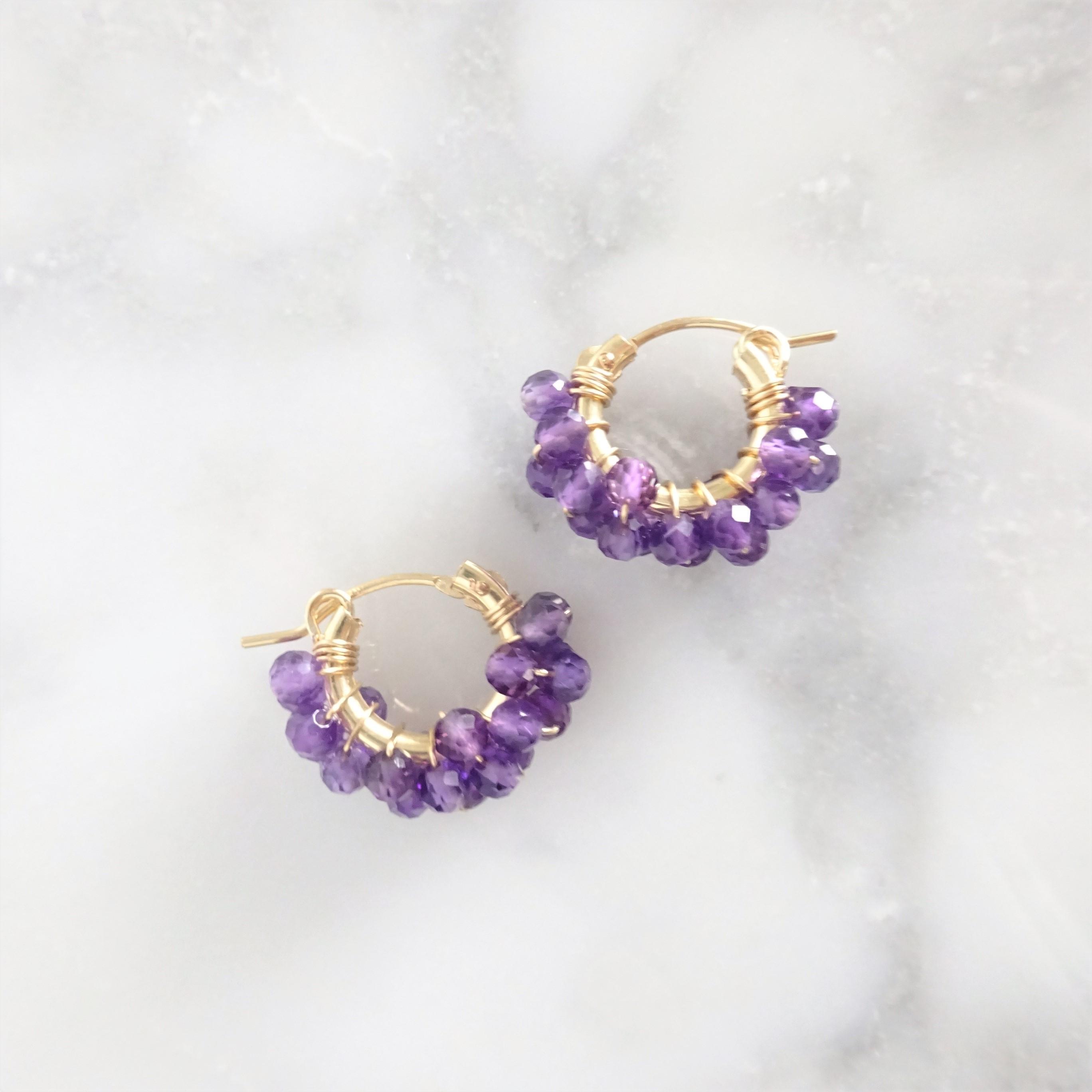 送料無料14kgf*Amethyst pavé pierced earring / earring