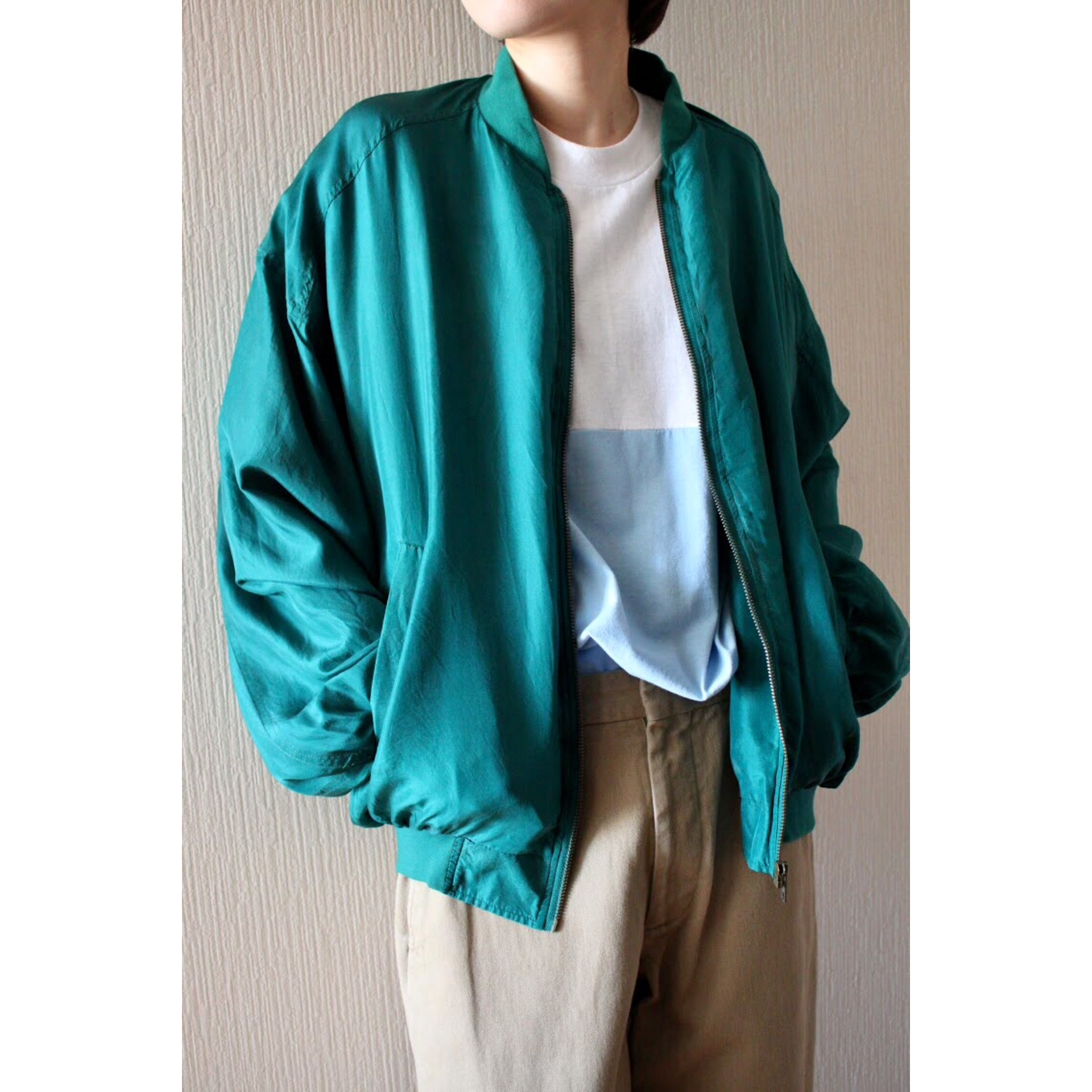 Vintage emerald green silk blouson