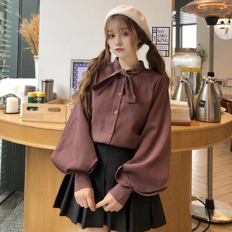 【tops】リボン付きカジュアルシングルブレストシャツ26975135