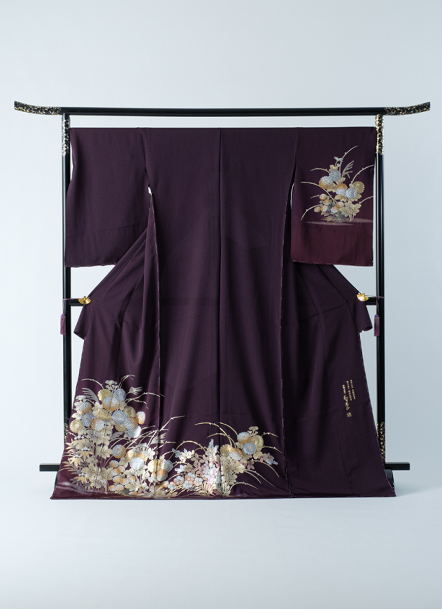 訪問着 紫 金彩友禅 花 和田光正 フォーマル 冠婚葬祭やパーティに