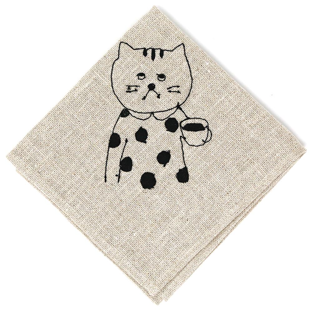 猫お弁当包み(リネンの刺繍)たま