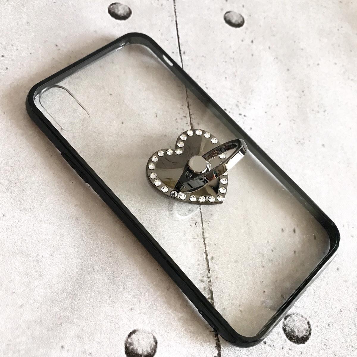 【即納★送料無料】縁ブラッククリアケースにブラックのキラキラハートのバンカーリング付iPhoneケース