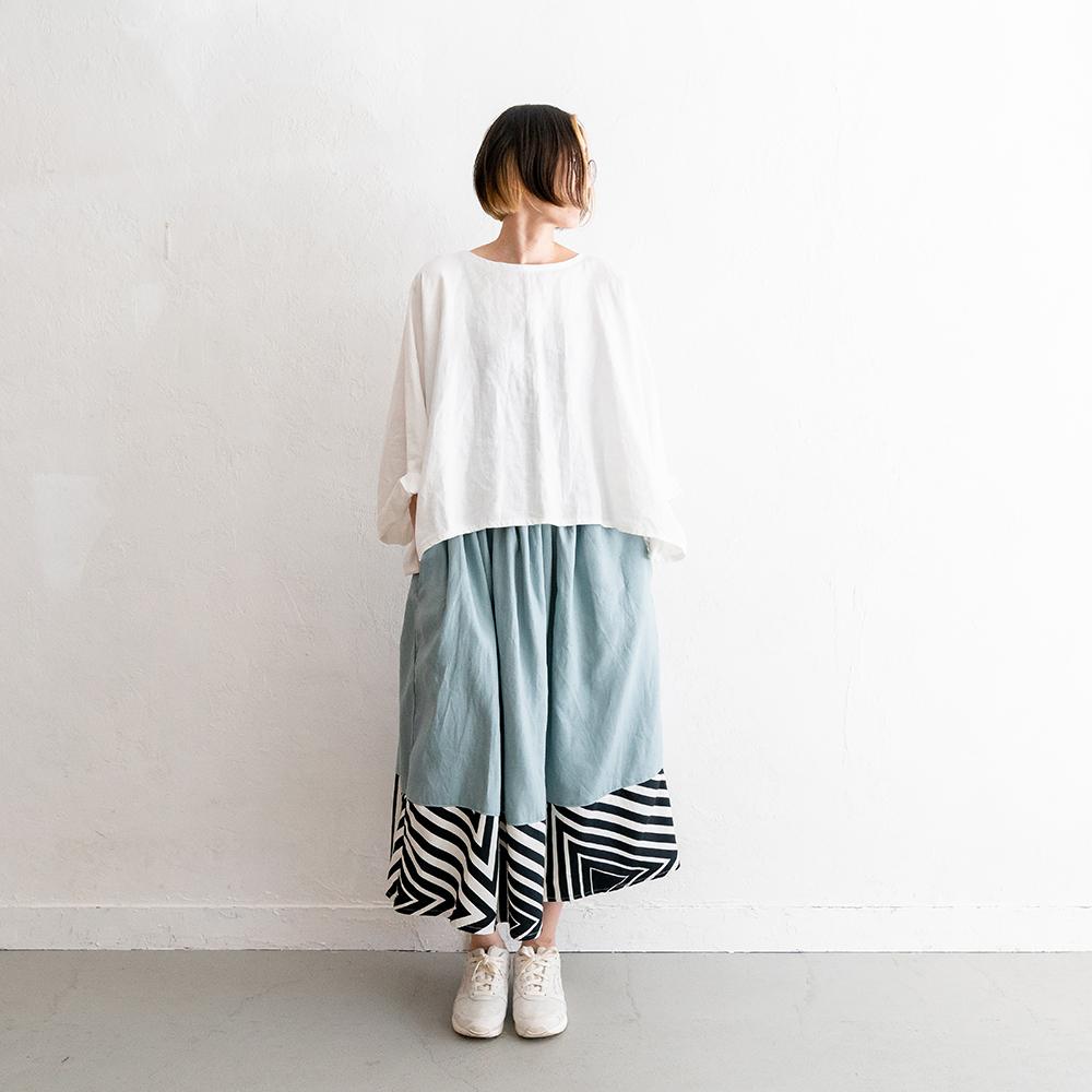 Rainbowfam x hanelca ギャザースカート(スモークブルー x 万華鏡/墨)