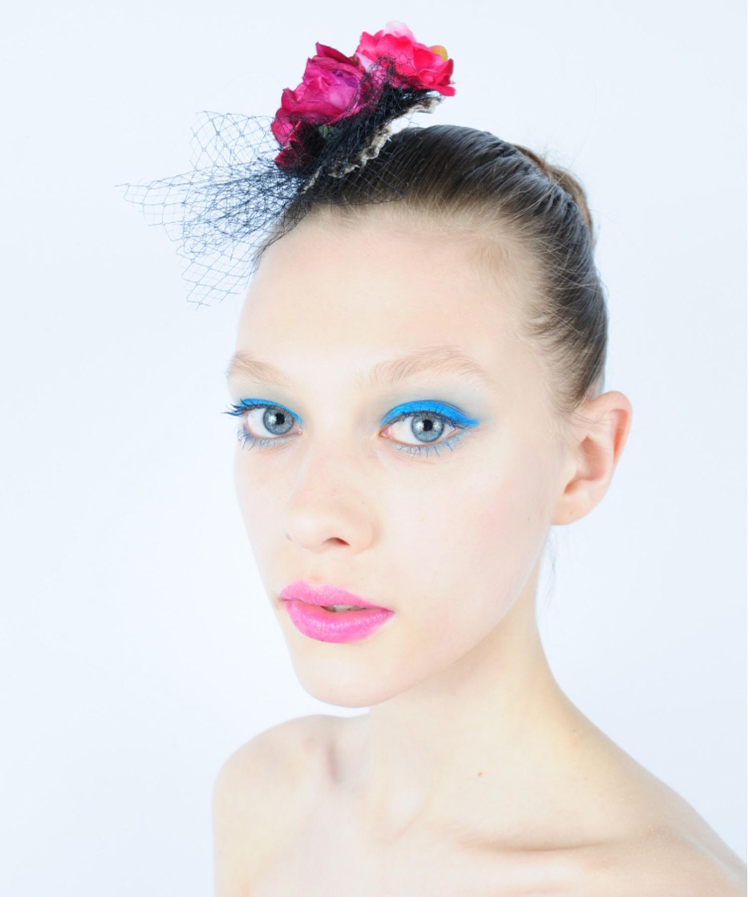 joe13AU-L06 Joelle Gagnard : ligne du luxe / flower tulle headpiece B pink