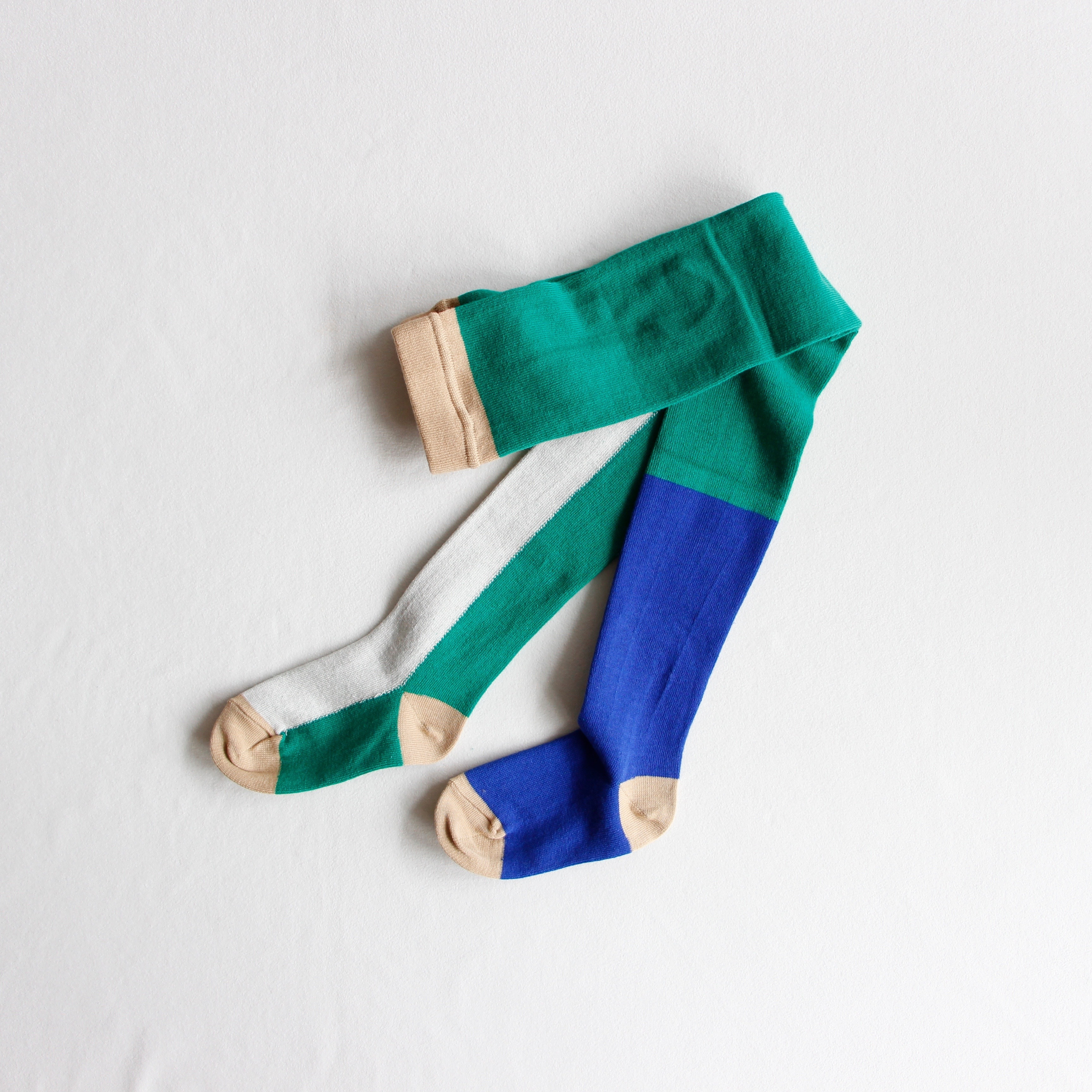 《frankygrow 2019AW》ASYMMETRIC TIGHTS / green × white × blue / LL