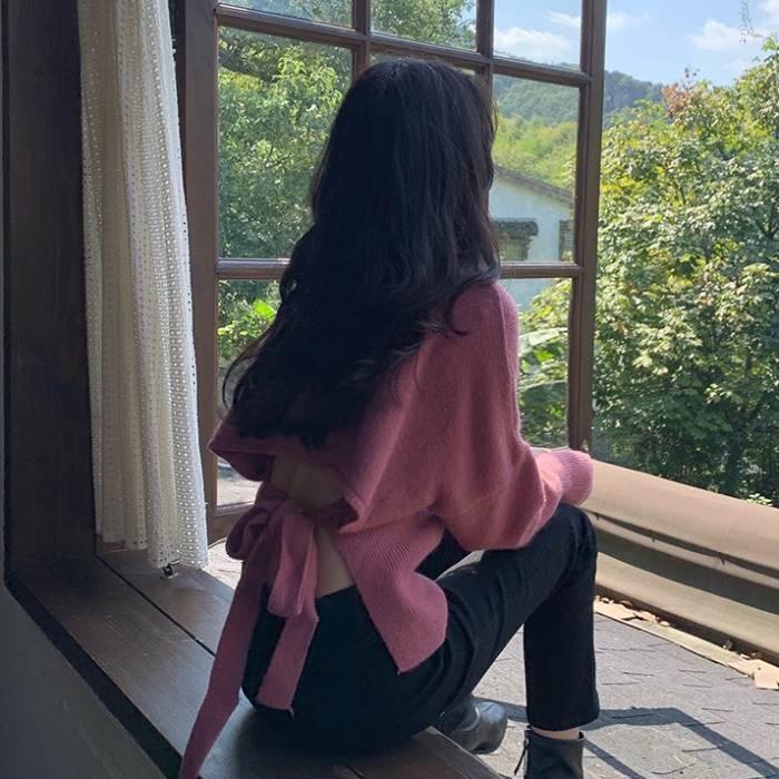 【送料無料】 後姿がセクシー♡ 大人フェミニン バックリボン バックシャン Vネック ニット セーター