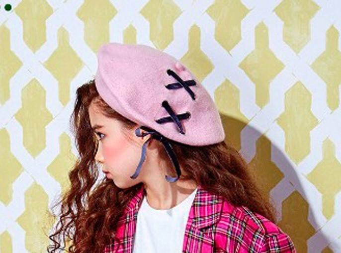 即納 リボン 編み上げ ベレー帽 キッズ 韓国子供服 女の子 秋 冬 画家帽子 ジュニア