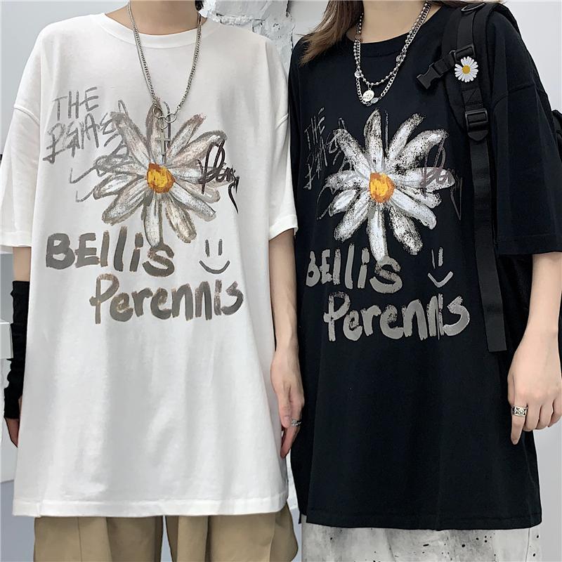 ユニセックス Tシャツ 半袖 メンズ レディース 落書き風 英字 花 フラワー プリント オーバーサイズ 大きいサイズ ルーズ ストリート