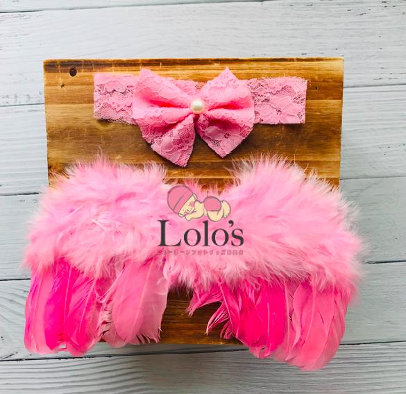 ピンクの天使の羽&パールリボンのヘッドバンドset