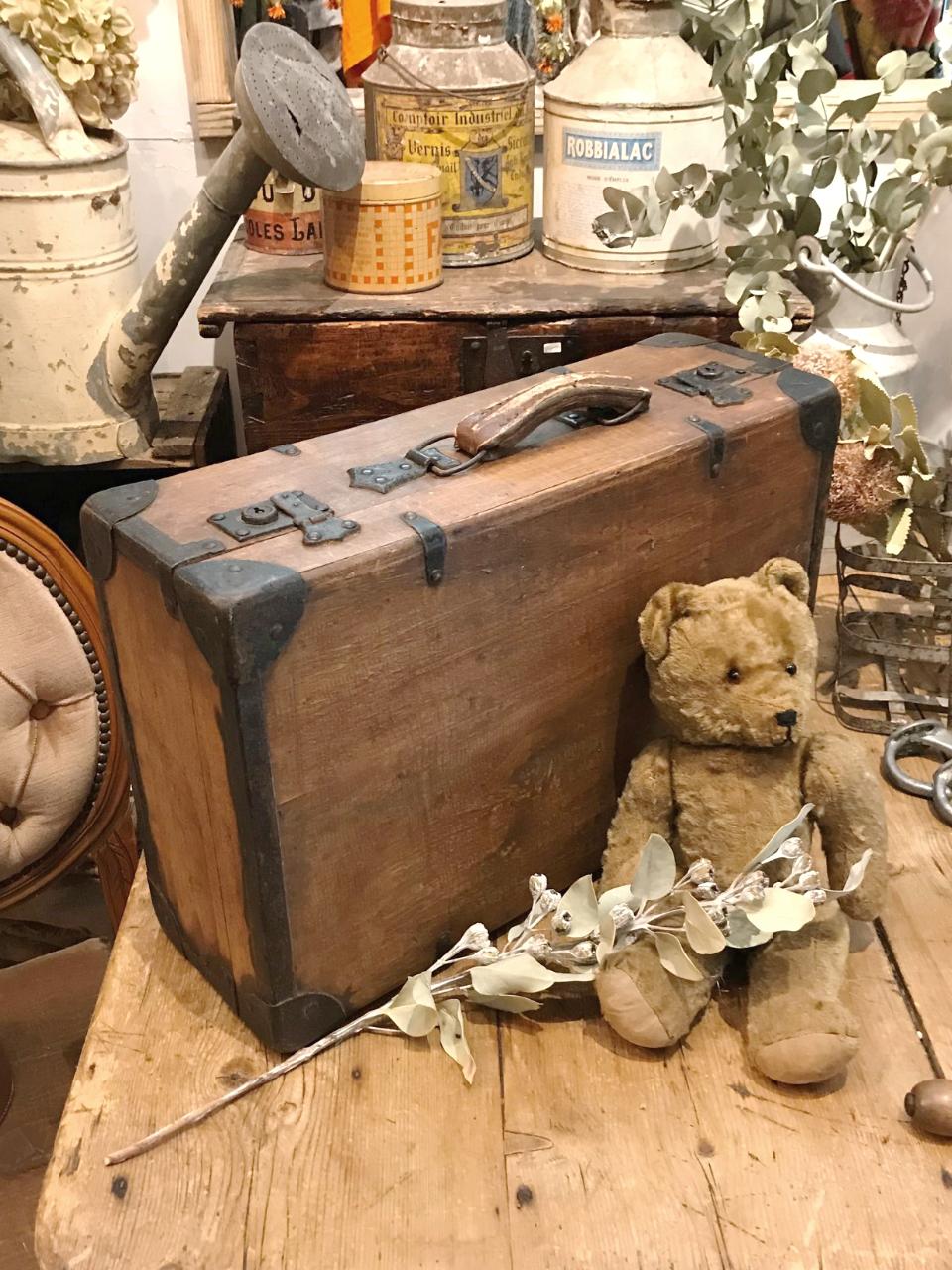 フランス 木製トランク アイアン