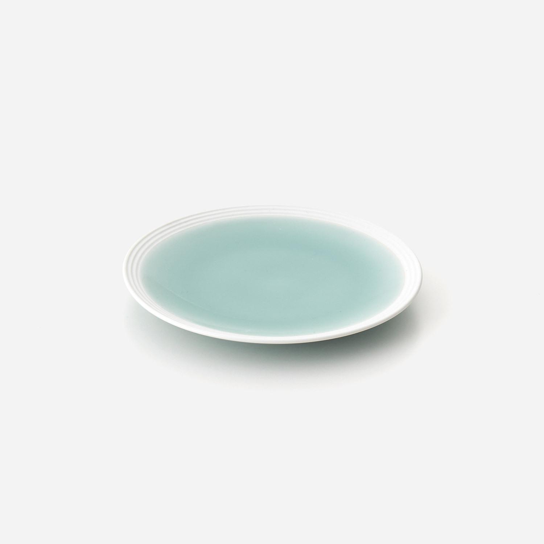 青磁白彩 5寸平皿