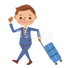 イラスト素材:スーツケースを引いて歩くビジネスマン(ベクター・JPG)