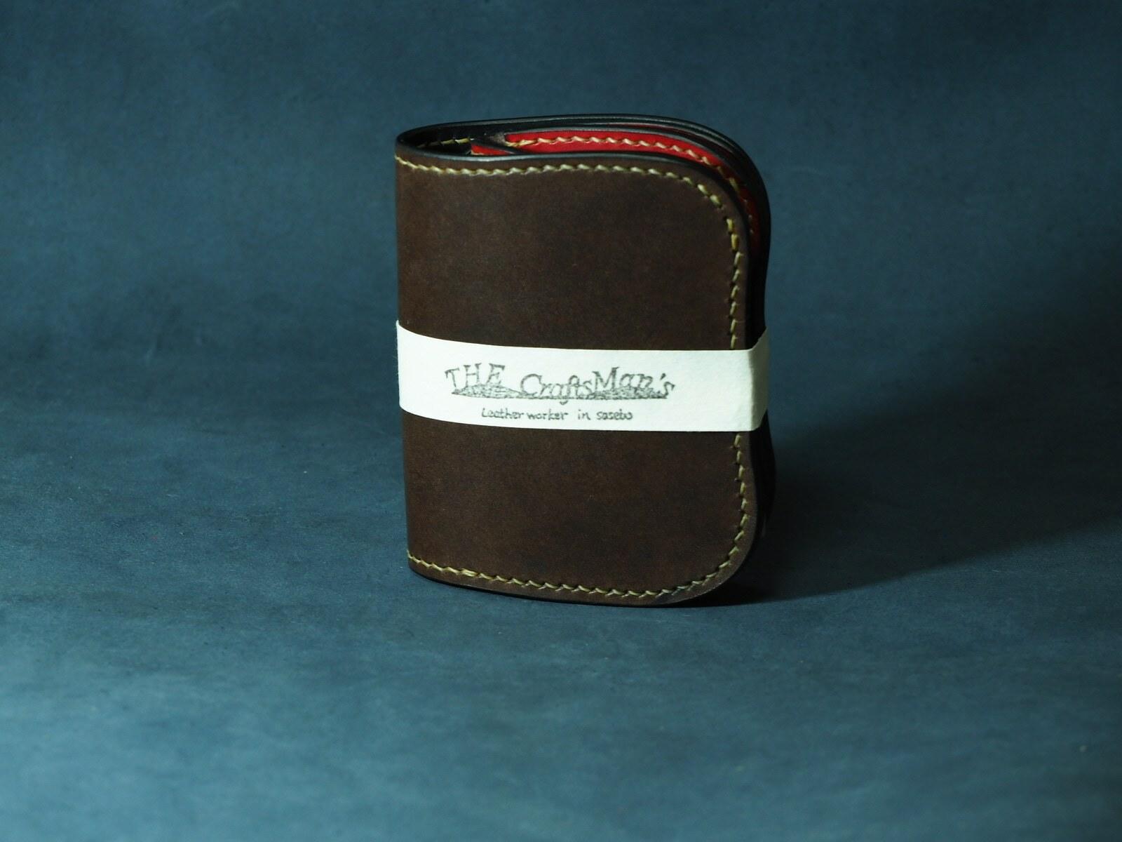 S様オーダー品 多脂ベンズのショートウォレット【crown】 type1 【昭南本ヌメサドル】 ダークブラウン×バーガンディ― ≪二つ折り財布≫