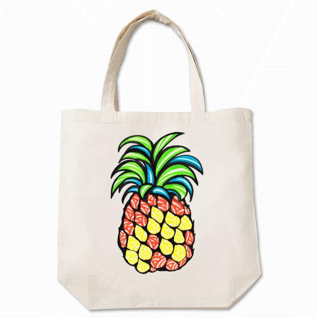◆トートバッグ 36cm×37cm マチ付◆ pineapple(パイナップル) キナリ