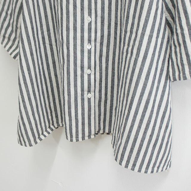 CUORE STORE クオーレストア ギンガムストライプ前開きAラインブラウス レディース ブラウス シャツ 5分袖 ストライプ チェック ゆったり 通販 (品番8407801)