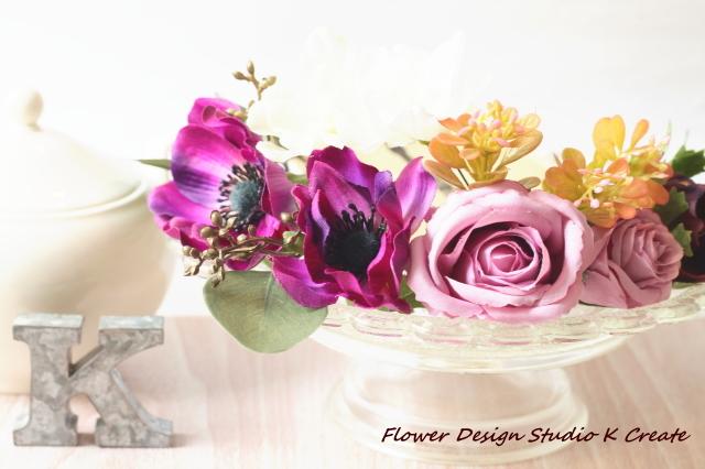 ウェディングに♡秋色のアネモネと薔薇のヘッドドレス(15本セット)お花 結婚式 二次会 お呼ばれ 食事会 フォーマル 造花 アートフラワー