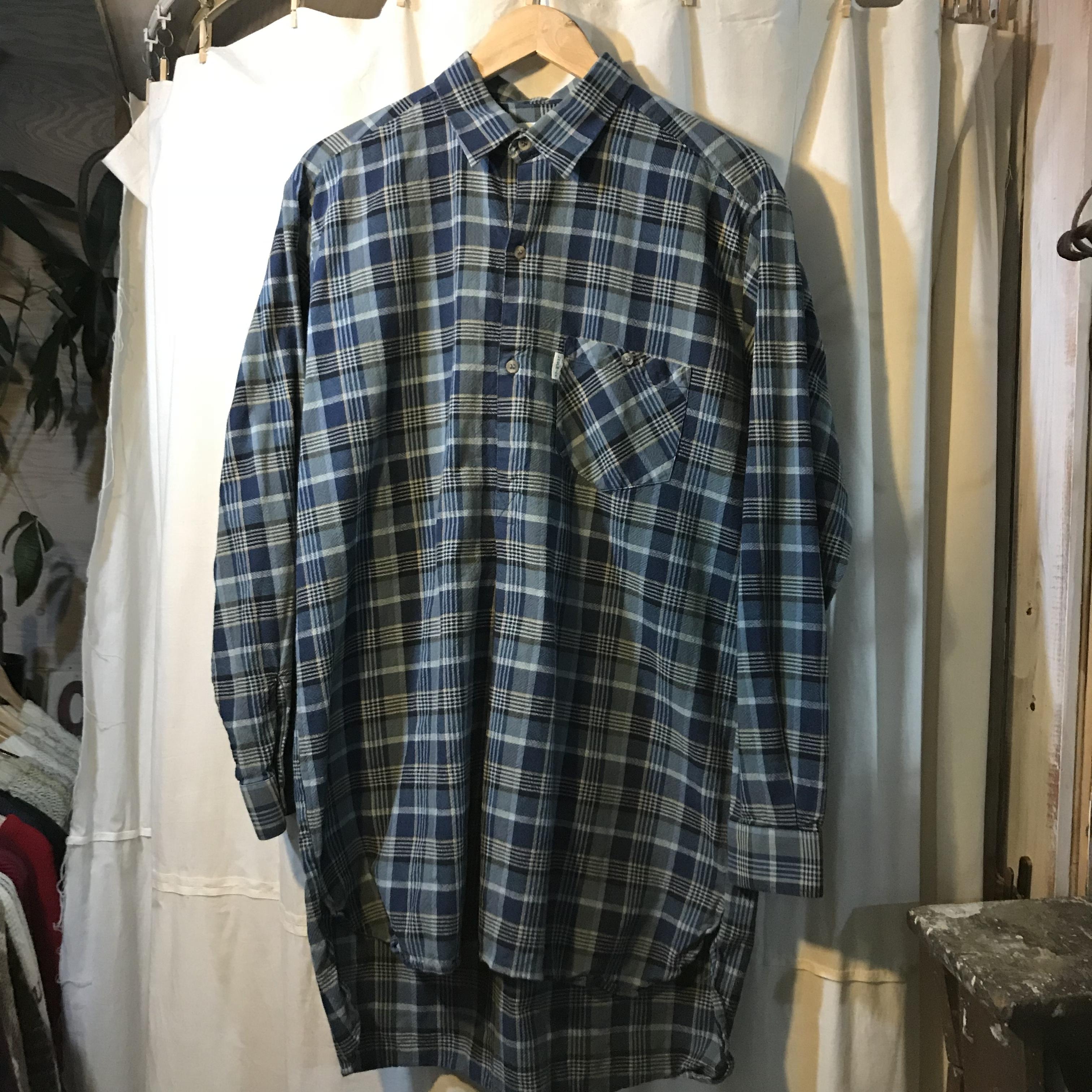 L'Hermine マチ付きオールドグランドファザーシャツ グランパシャツ メンズL