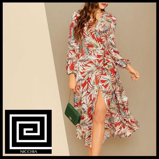 ラップノットサイドトロピカルプリントドレス