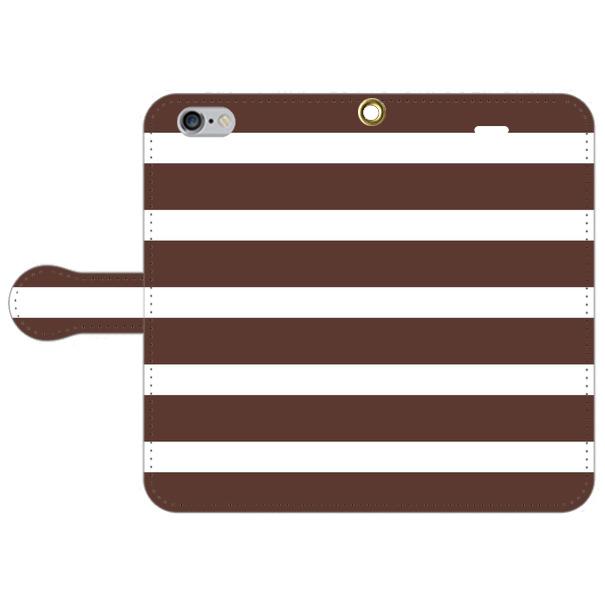 【全70機種に対応】チョコレート・ボーダー スマホカバー 手帳型