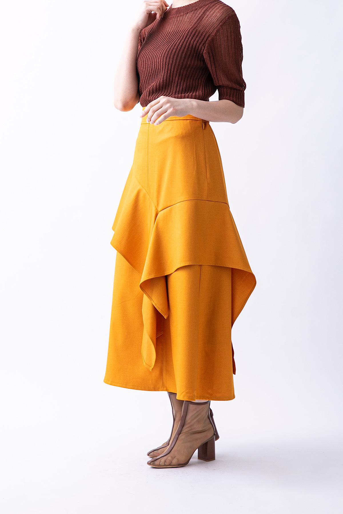カラーフレアスカート 3色:イエロー