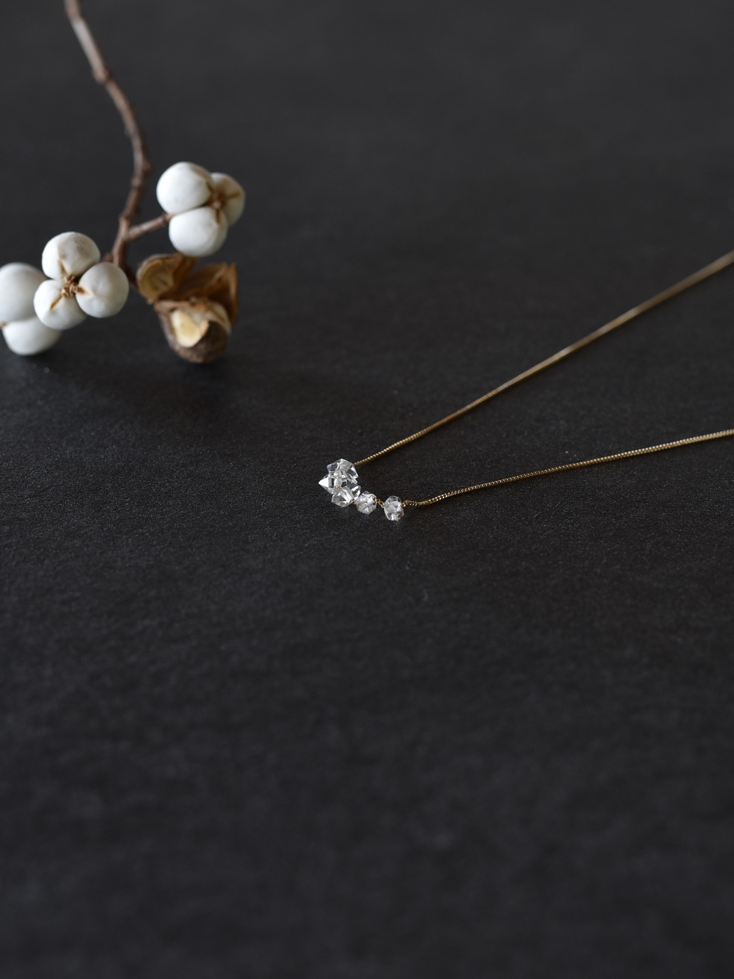 accessories mau|N-25 ハーキマー5粒ネックレス