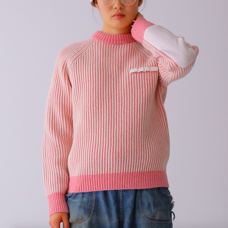 410002 Editors Pullover(ピンク×オフ)