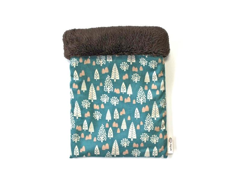 ハリネズミ用寝袋 M(冬用) コーデュロイ×ボアフリース フォレスト グリーン