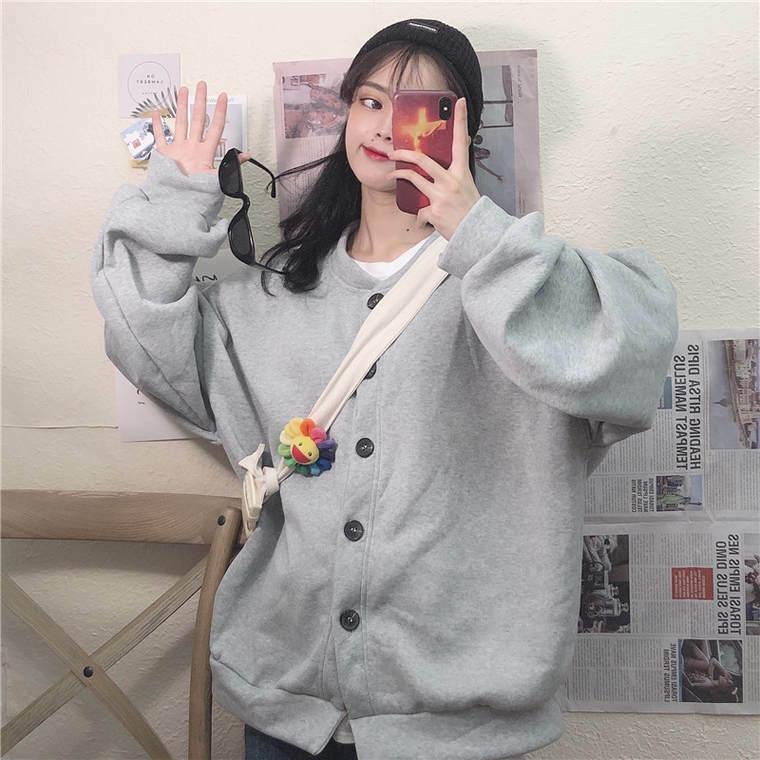 【送料無料】 ゆるだぼ♡ オーバーサイズ スウェット ブルゾン カーディガン 羽織り シンプル メンズライク