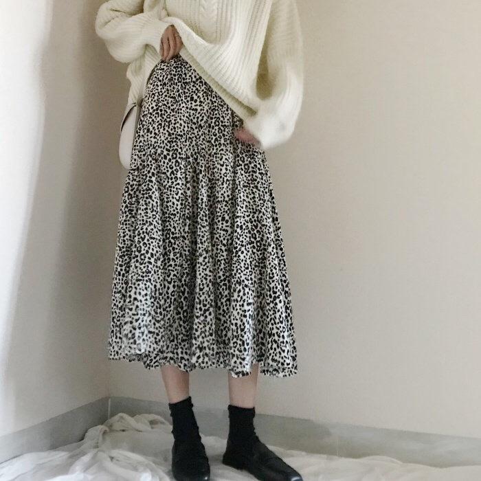 【送料無料】 コーデのアクセントに♡ レオパード柄 ロングスカート Aライン ハイウエスト ウエストゴム