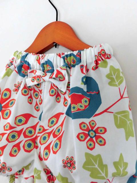 オーガニックコットン バルーンパンツ ベビー服 クジャク柄【kokobaby】