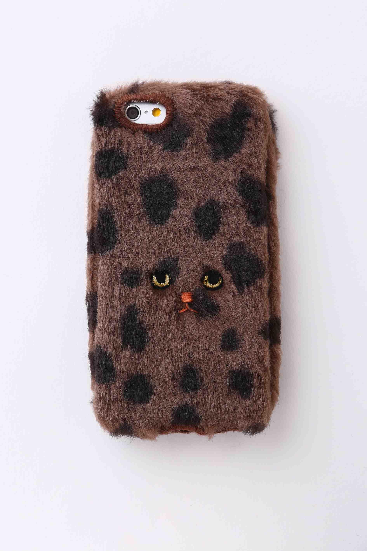 【iPhone5/5c/5s専用】ドットネコiPhone5/5c/5sカバー 【ブラウン】