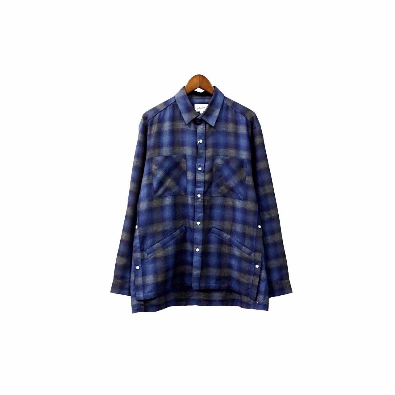 yotsuba - Cotton & Rayon Check Shirt / Blue ¥22000+tax