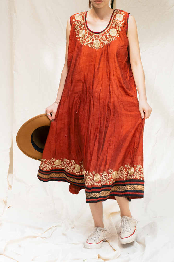 """Made In India"" Gold Embroidery Dress"