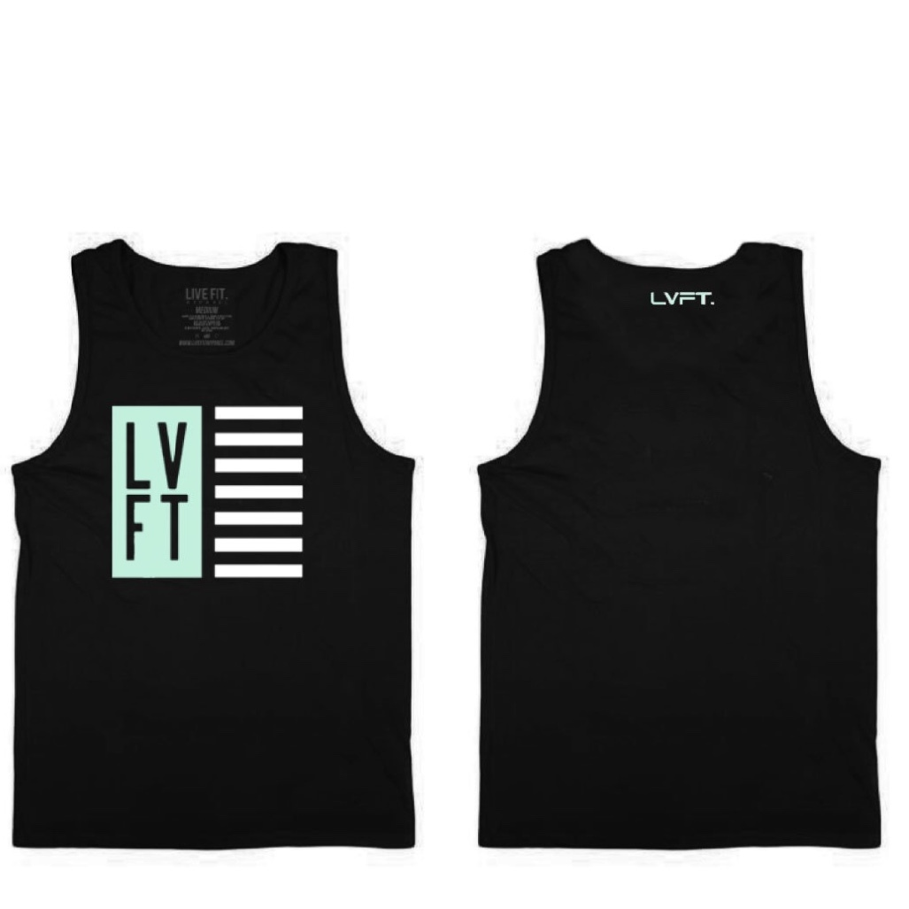 LIVE FIT Nation Mens Tank - Black/Teal