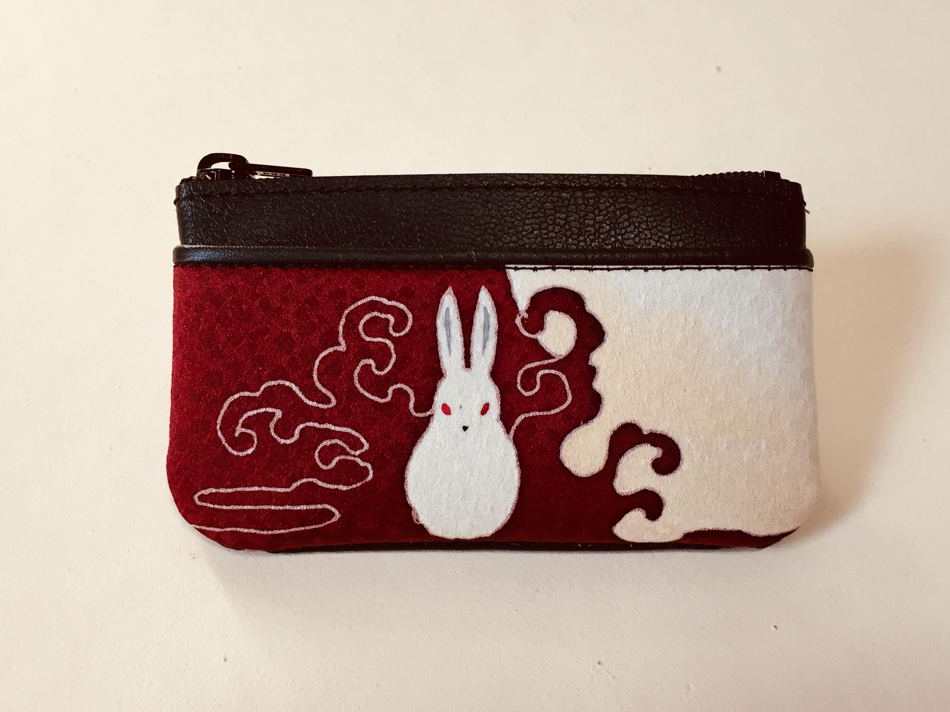 小銭入れ「ウサギ」臙脂色