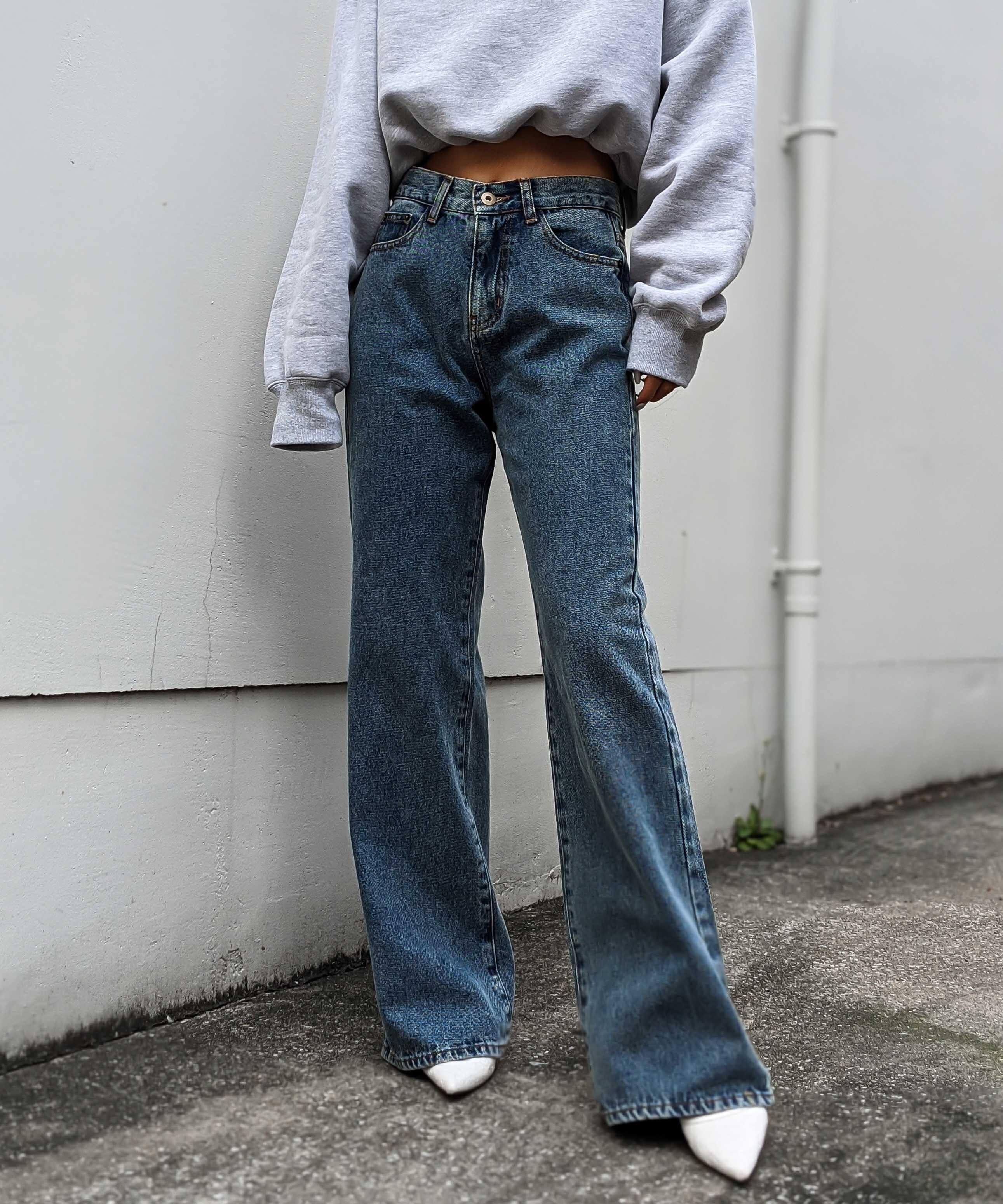 High waist long wide denim
