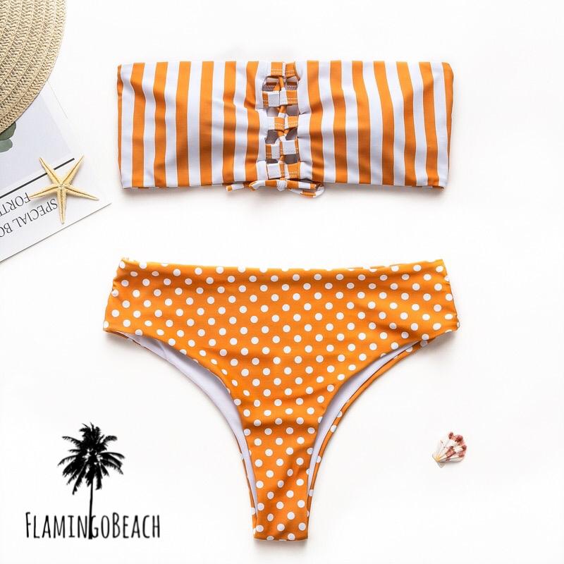 【FlamingoBeach】stripe dot bikini ビキニ