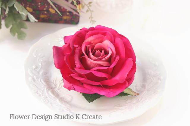 フラメンコ・フローレス・発表会に♡大輪のローズピンクの薔薇のヘッドドレス
