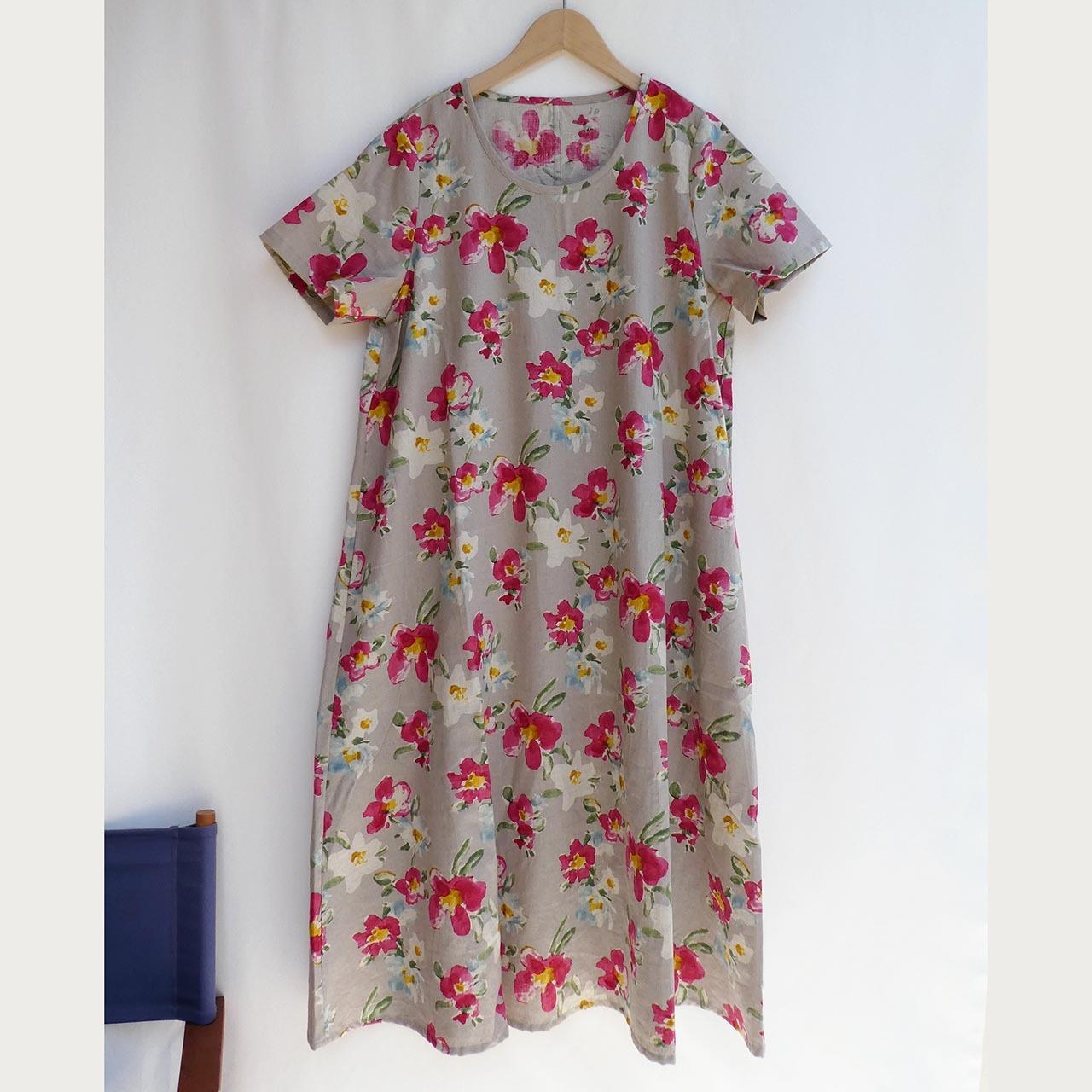 フラワープリント Aドレス/半袖
