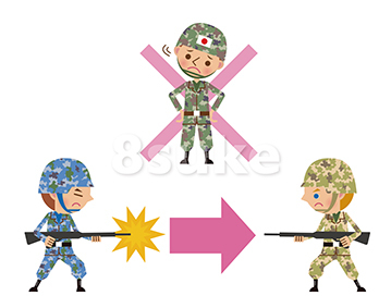 イラスト素材:集団的自衛権を行使しない場合のイメージ図/文字なし(ベクター・JPG)